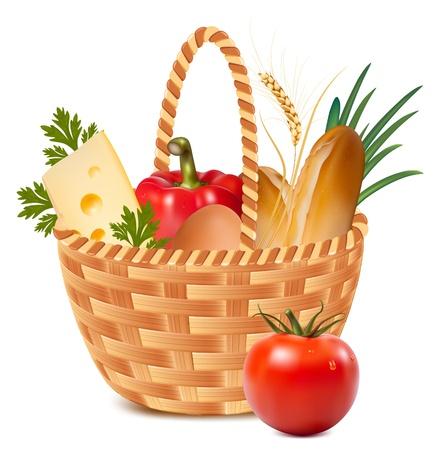 Vector. Canasta llena de alimentos básicos. Ilustración de vector