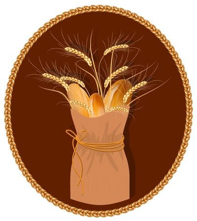 baked: Vector frame. Paper bag with bread and wheat. Illustration