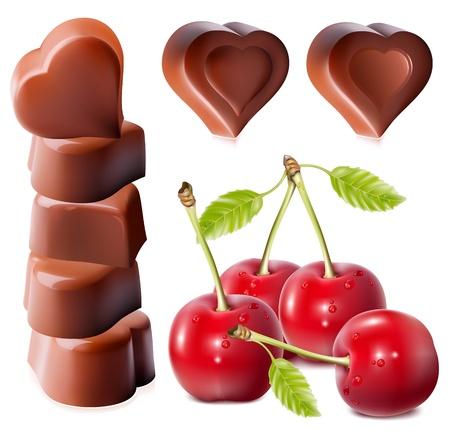 Foto-realistische vector illustratie van chocolade. Hartvormig chocolade met kersen. Stock Illustratie