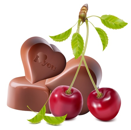 Photo-realistic vector illustration of chocolates. Heart-shaped chocolates with cherries. Vector