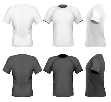 Illustrazione vettoriale. Modello struttura t-shirt da uomo (anteriore, posteriore e laterale vista)