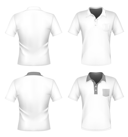 ポロ: ベクトル。メンズ ポロシャツ デザイン テンプレート (前面と背面) ポケット付きです。