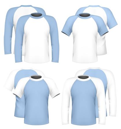 casquetes: Vector colecci�n de plantillas de dise�o de la camiseta y polo- Vectores