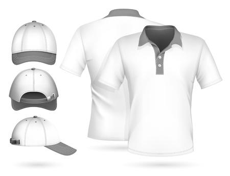 berretto: Vector. Men polo shirt design modello e baseball cap.