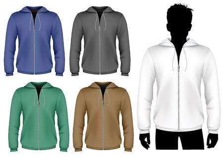 Vector. Hooded sweatshirt with zipper design template. Vector