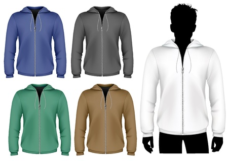 mens: Vector. Hooded sweatshirt with zipper design template. Illustration