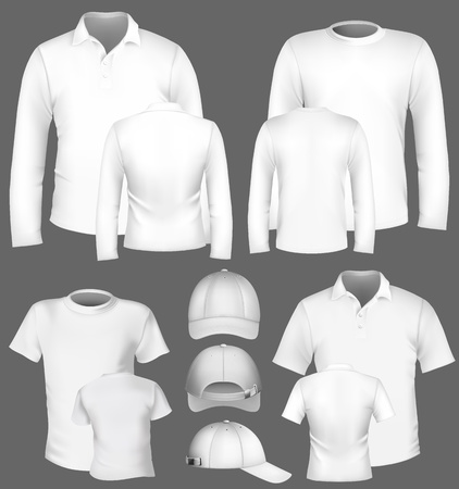 man t shirt: Vector collection of t-shirt & polo-shirt design template