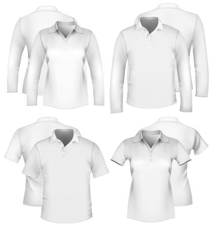 ポロ: ベクトル。男性と女性のシャツのデザイン テンプレートです。