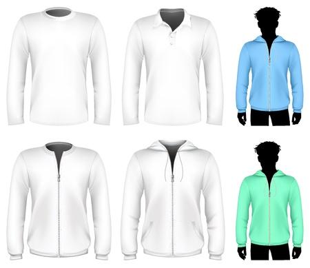 sudadera: Camiseta de vector, Camisa polo y plantilla de dise�o de la sudadera. Manga larga.
