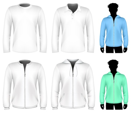 fleece: Vector t-shirt, polo shirt and sweatshirt design template. Long sleeve.