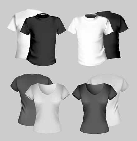 Vector illustration. T-shirt design template (men and women). Black and white. Vector
