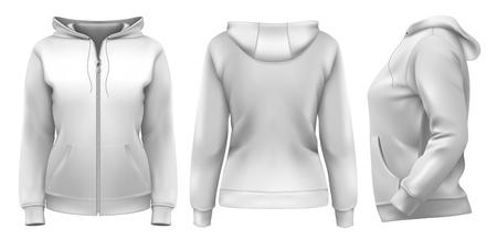 Vector. Vrouwen hoodie (voorkant, zijkant en achterkant ontwerp)