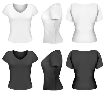 Modèle de conception de t-shirt vecteur femme (avant, arrière, côté design) Vecteurs
