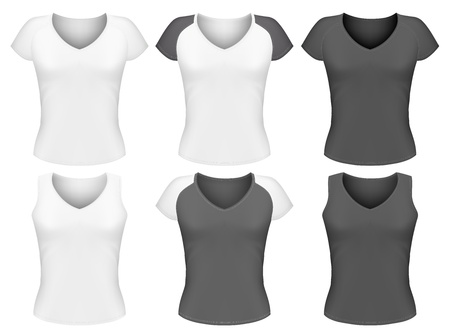 sport wear: Vector woman t-shirt design template.