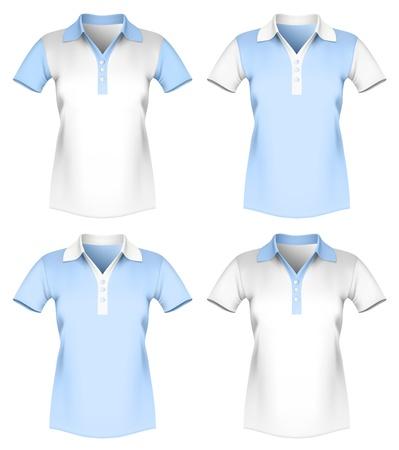 ポロ: 女性ポロシャツ テンプレートのベクトル イラスト。  イラスト・ベクター素材