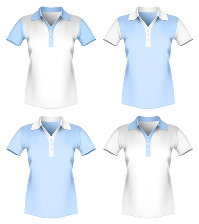 Vector illustration of women polo shirt template. Vector
