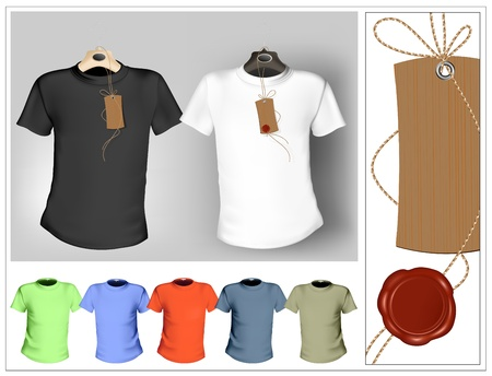 shirts on hangers: Vector illustration. T-shirt design template. Black, white and color. Tag with sealing wax.