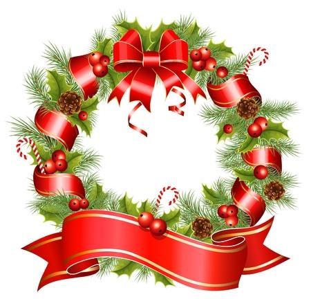 decorando: Corona navide�a de vectores