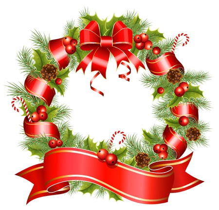 pine wreath: Vector christmas wreath