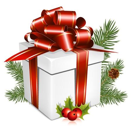 Vector. Aanwezig met rode strik. Merry Christmas! Stock Illustratie
