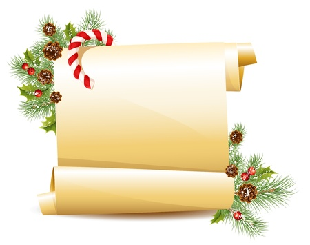 parchment scroll: Vector. Christmas scroll with candy cane.