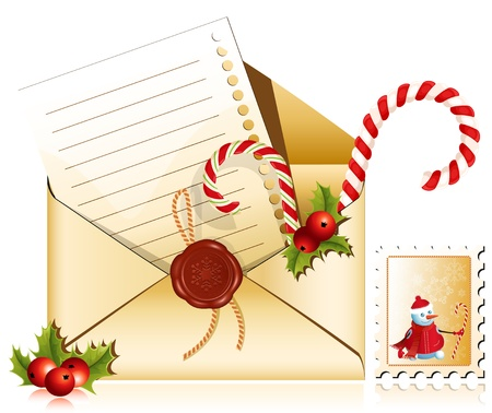 Vector. Christmas mail. Letter to Santa.