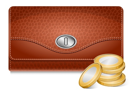 Vector wallet and coins Stock Vector - 10053338