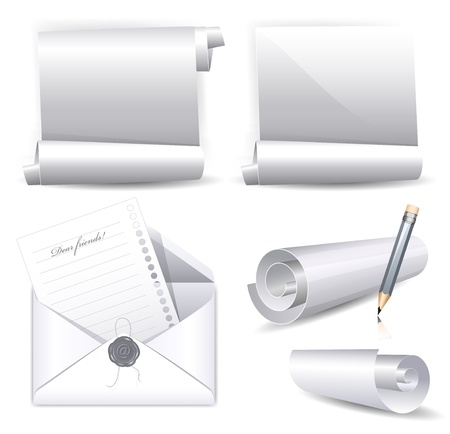 Vector collection of various white scrolls and envelope with wax seal Vector