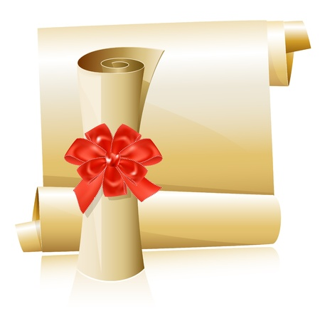 Vector illustration. Scrolls with red gift bow. Vector