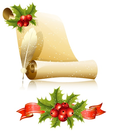 lacerated: Vector illustration. Paper scroll with feather and Christmas holly. Illustration