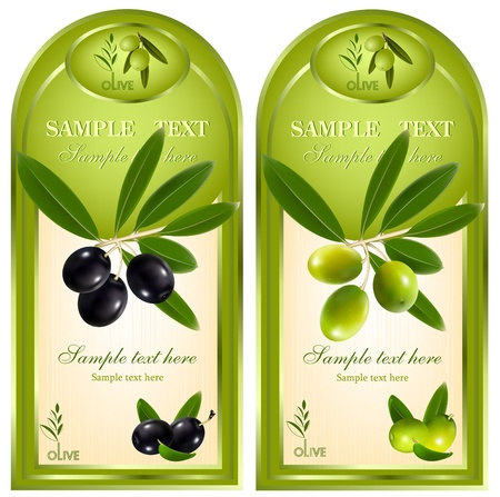 food packaging: Label for product. Olive oil. Illustration