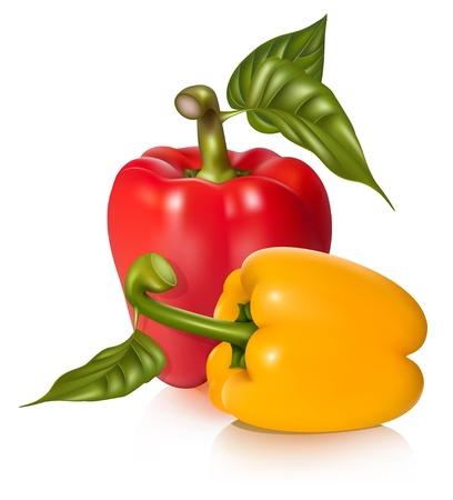 Vector illustratie van de paprika's met bladeren. Stock Illustratie