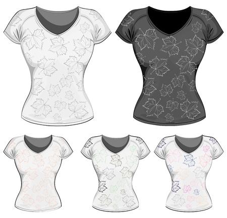 hojas de maple: Plantilla de dise�o de camiseta de mujer de vector.  Camisetas la mujer con hojas de arce. Vectores