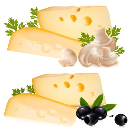cheddar cheese: Photo-realistic vector illustration. Cheese with black olives and mushrooms.