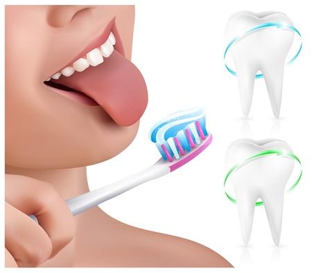 pasta dientes: Vector. Concepto dental. Kid cepillarse los dientes.