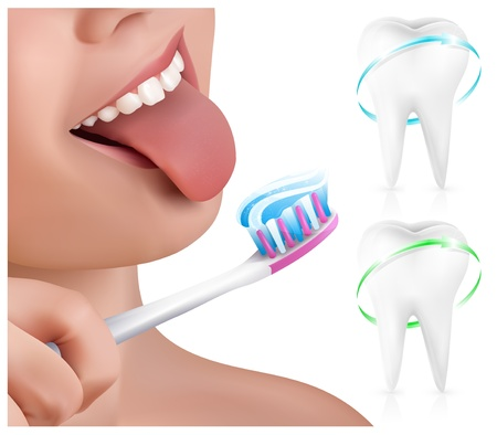 lips smile: Vector. Dental concept. Kid brushing teeth.