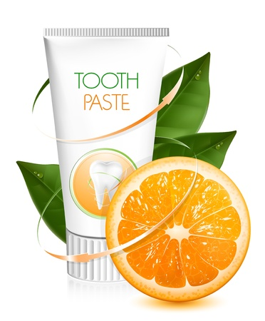 fluoride toothpaste: Vector. Orange flavor toothpaste.