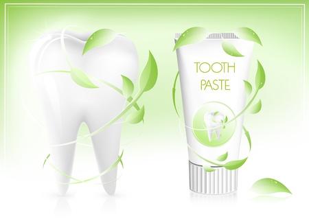 fluoride: Ilustraci�n vectorial. Pasta de dientes con hojas.