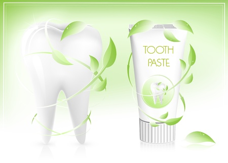 cleanliness: Vector illustration. Toothpaste with leaves.