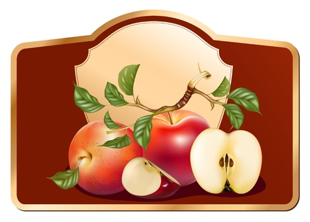 pasteurized: Vector. Background for design of packing jam jar with apples.
