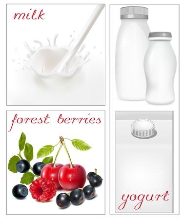 Illustrazione vettoriale. Elementi per la progettazione di imballaggio lattiero-caseario. Spruzzi Lattea. Bacche mature. Vettoriali