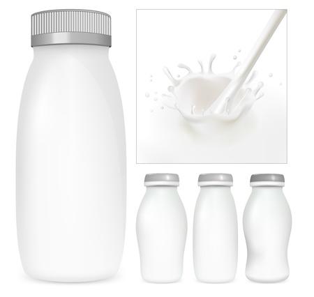 Conjunto de vectores de paquetes de leche y yogurt en blanco. Bienvenida lechoso