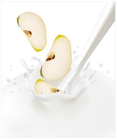 yogurt: Vector illustration. Green apples falling into the milky splash. Illustration