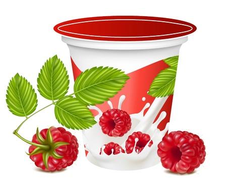 yogur: Ilustración vectorial. Fondo para el diseño de yogur con vector fotorrealistas de frambuesa de embalaje. Vectores