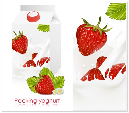 Vectorillustratie. Achtergrond voor het ontwerp van de verpakking van yoghurt met fotorealistische vector van aardbei.