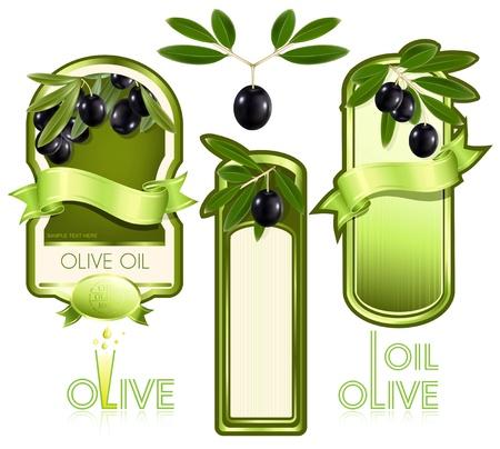 foglie ulivo: Illustrazione vettoriale. Etichetta per il prodotto. Olio d'oliva.