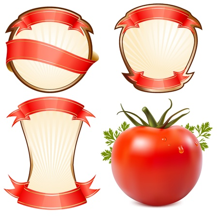 Label for a product (ketchup, sauce) with photo-realistic vector illustration of tomato. Vector