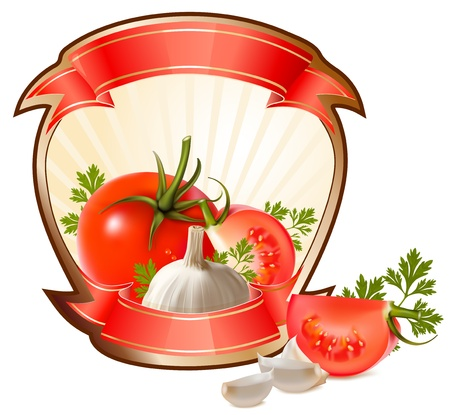 Etiqueta para un producto (ketchup, salsa) con ilustración vectorial fotorrealistas de verduras.