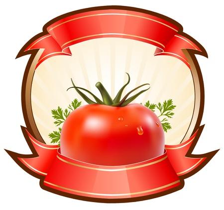 Etiqueta para un producto (ketchup, salsa) con ilustración vectorial fotorrealista de tomate.