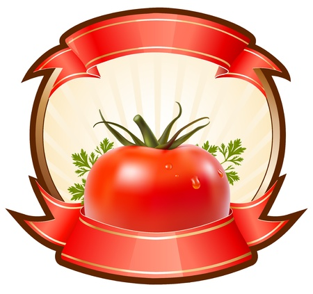 Label for a product (ketchup, sauce) with photorealistic vector illustration of tomato.